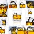 Whiskey glass set collage reflection ice drink bourbon rocks alcoholic alcohol scotland — Stock Photo