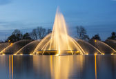 Europaplatz aachen fountain roundabout Europe high-rise fountains water blue hour night — Stockfoto