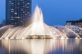 Europaplatz aachen fountain roundabout Europe high-rise fountains water blue hour night — Photo