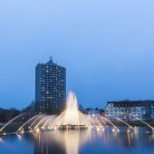 Europaplatz aachen fountain roundabout Europe high-rise fountains water blue hour night — Stock Photo