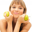 Happy healthy girl with green apple - Stockfoto
