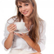 Beautifu woman with cup of coffee — Stock Photo