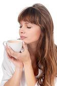 Beautiful young woman having breakfast — Stock Photo