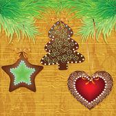 Christmas wood background — Stock Photo