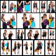 Collage of images with young female — Foto Stock