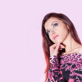 Beautiful Woman On Pink Background — Stock Photo