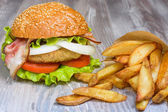 Fast food set big hamburger and french fries — Stock Photo