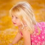Child in Fall Harvest Corn — Stock Photo