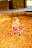 Little Girl Fall Harvest — Stock Photo