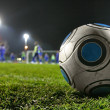 Silver-blue soccer ball on soccer field — Stock Photo