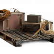 Stock Photo: Equipment for climbers with luggage on wooden pallet