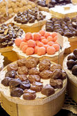 Chocolate candy on store shelves — Stock Photo