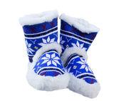 Zapatos para el hogar de lana de oveja con patrones nacionales — Foto de Stock