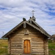 Wooden chapel on Solovki in Russia - Stock Photo