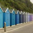 Beach huts on the beach in Bournemouth, UK — Stock Photo