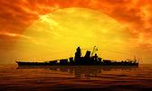 Battleship at sea — Stock Photo