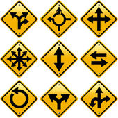 Rhombic yellow road signs with arrows directions — Zdjęcie stockowe