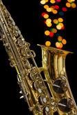 Saksofon sztuka na czarnym tle. — Zdjęcie stockowe