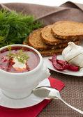 Ukrainian and Russian national borscht — Stock Photo