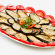 Stock Photo: Sliced and fried aubergines close-up