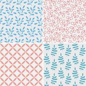 Set of seamless abstract and floral patterns — Stock Vector
