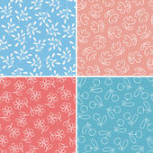 Set of seamless patterns with cute flowers and leaves — Stok Vektör