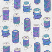 Spools of threads seamless pattern — Stock Vector