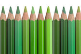 Green pencils isolated on white background — Stock Photo