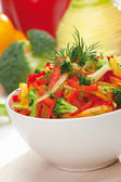 Red, yellow and orange sweet pepper, broccoli and fennel salad — Stock Photo