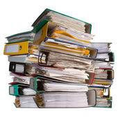 Piles of file binder with documents — Stock Photo