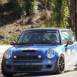 Stockfoto: LEIRIA, PORTUGAL - FEBRUARY 2: Joao Goncalves drives Mini Cooper S during 2013 Amateur Winter Rally, in Leiria, Portugal on February 2, 2013.
