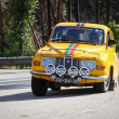 Stockfoto: LEIRIA, PORTUGAL - FEBRUARY 2: Joao Abrantes drives Saab 9.6 V Saloon during 2013 Amateur Winter Rally, in Leiria, Portugal on February 2, 2013.