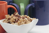 Breakfast mugs with cereals — Fotografia Stock