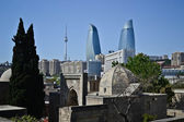 Look on Flame Towers from the old city — Stock Photo