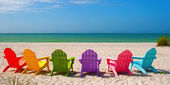 Adirondack Beach Chairs for a Summer Vacation in the Shell Sand  — Stock Photo