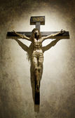Crucified Jesus Christ with a Crown of Thrones on a Gothic Cross — Stock Photo