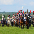 Reproduction of the battle near Borodino in Russia in 1812 year. - Stock Photo