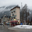 France, the ski resort of Chamonix in the rain and fog. — Stock Photo