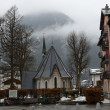 France, the ski resort of Chamonix in the rain and fog. — Stockfoto