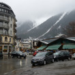 France, the ski resort of Chamonix in the rain and fog. — Stock fotografie