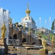 Stock Photo: Fountains in lower park of Petergof.