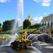 Stock Photo: St. Peterburg, Russia, fountains in lower park of Petergof, Samson.