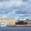 Panoramof St. Petersburg. barge with foreston Neva. — Photo #23920549