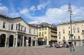 Italy, the square of Emilio Shany - the main square of Aosta. — Stock Photo