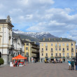 Italy, views of Aosta, square of Emilio Shanu with municipality. — Stock Photo #24029131