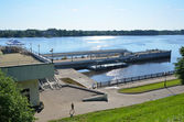 Yaroslavl, embankment of Volga River in the morning. Golden ring of Russia. — Stock Photo