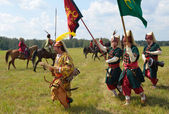 Men in suits warriors of 16 century before the reconstruction of the battle of Molodi, Moscow region — Foto de Stock