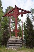 Solovki, Svyato-voznesensky Memorial cross in the skit (monastery) on Mount Sekirnaya — Stock Photo
