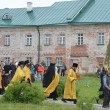 Sunday's procession in Solovki monastery. — Stock Photo