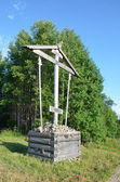 Russia, memorial cross in Isaakievsky skete on Solovki — Stok fotoğraf